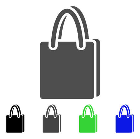 billfold: Shopping Bag flat vector icon. Colored shopping bag, gray, black, blue, green pictogram variants. Flat icon style for web design. Stock Photo