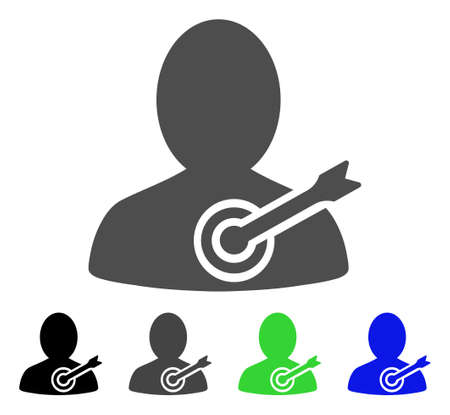 concurrent: Aim Person flat vector pictogram. Colored aim person, gray, black, blue, green icon variants. Flat icon style for graphic design.
