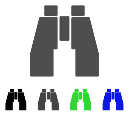 investigating: Find Binoculars flat vector illustration. Colored find binoculars, gray, black, blue, green pictogram variants. Flat icon style for web design.