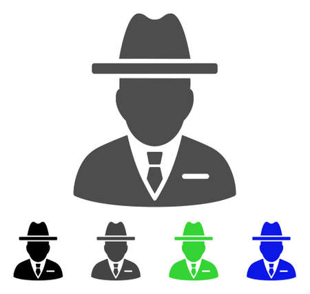 Spy Person flat vector pictograph. Colored spy person, gray, black, blue, green pictogram versions. Flat icon style for application design. Ilustração
