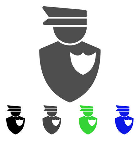 Policeman flat vector pictogram. Colored policeman, gray, black, blue, green icon variants. Flat icon style for application design. Illustration