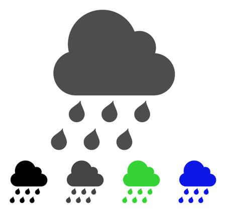 rainy season: Rain Cloud flat vector illustration. Colored rain cloud, gray, black, blue, green pictogram variants. Flat icon style for web design. Illustration