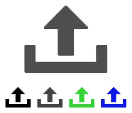 Upload flat vector pictogram. Colored upload, gray, black, blue, green pictogram variants. Flat icon style for web design. Illustration