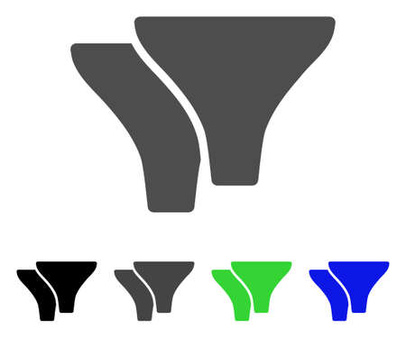 Filters platte vector pictogram. Gekleurde filters, grijze, zwarte, blauwe, groene pictogramvarianten. Platte pictogramstijl voor webdesign.