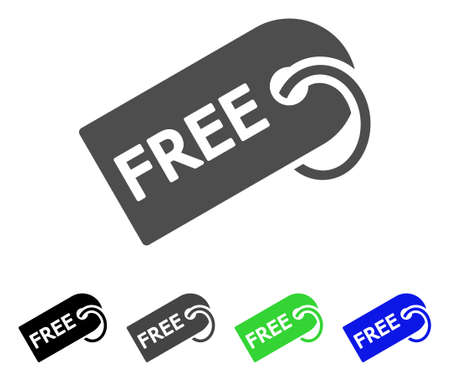 Free Tag flat vector illustration. Colored free tag, gray, black, blue, green icon versions. Flat icon style for graphic design.