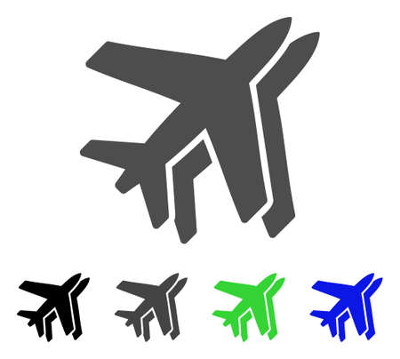 Airlines flat vector pictogram. Colored airlines, gray, black, blue, green icon versions. Flat icon style for graphic design.