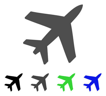 Airplane flat vector illustration. Colored airplane, gray, black, blue, green pictogram versions. Flat icon style for application design. Illustration