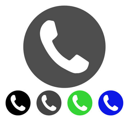 Phone Number flat vector illustration. Colored phone number, gray, black, blue, green pictogram variants. Flat icon style for application design.