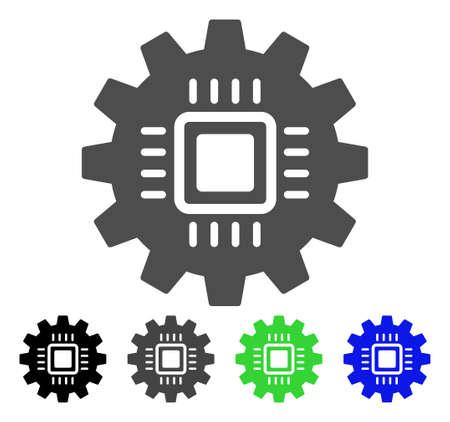 setup: Chip Development Gear flat vector icon. Colored chip development gear, gray, black, blue, green pictogram variants. Flat icon style for web design. Illustration