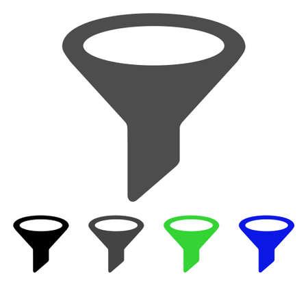 Filter flat vector illustration. Colored filter, gray, black, blue, green pictogram variants. Flat icon style for application design. Illustration