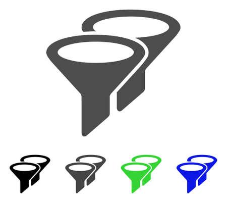 Ilustración de vector plano de filtros. Filtros de colores, gris, negro, azul, versiones en pictogramas verdes. Icono de estilo plano para diseño gráfico. Foto de archivo - 83390274