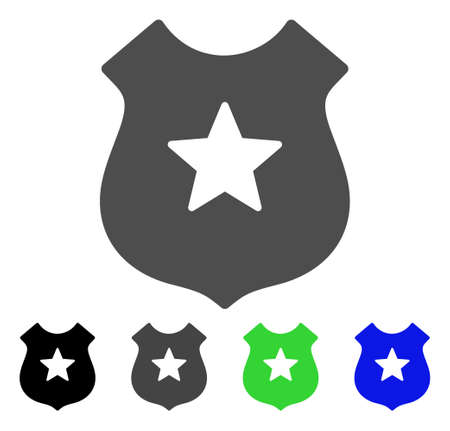 Police Shield flat vector pictogram. Colored police shield, gray, black, blue, green icon versions. Flat icon style for web design.