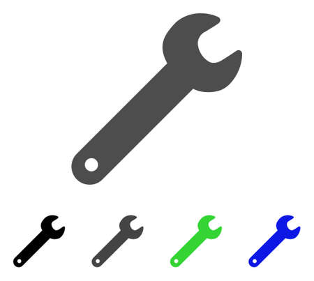 Spanner flat vector illustration. Colored spanner, gray, black, blue, green pictogram variants. Flat icon style for application design. Illustration