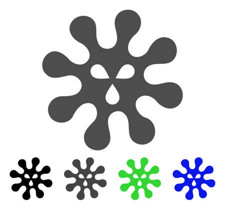 Virus flat vector pictograph. Colored virus, gray, black, blue, green pictogram variants. Flat icon style for graphic design.