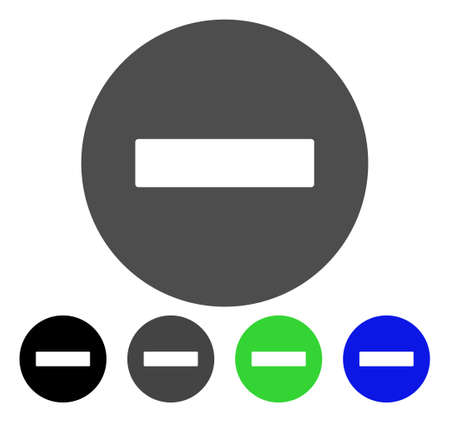 Forbidden flat vector illustration. Colored forbidden, gray, black, blue, green icon versions. Flat icon style for web design. Illustration