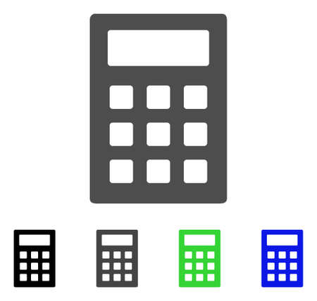 Calculator flat vector icon. Colored calculator, gray, black, blue, green pictogram variants. Flat icon style for web design.