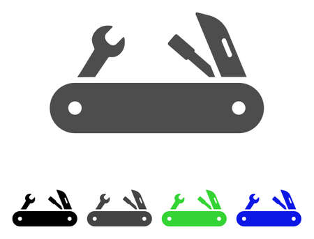 Multi-Tools Knife flat vector pictogram. Colored MULTI-TOOLS KNIFE, gray, black, blue, green icon variants. Flat icon style for web design. Illustration