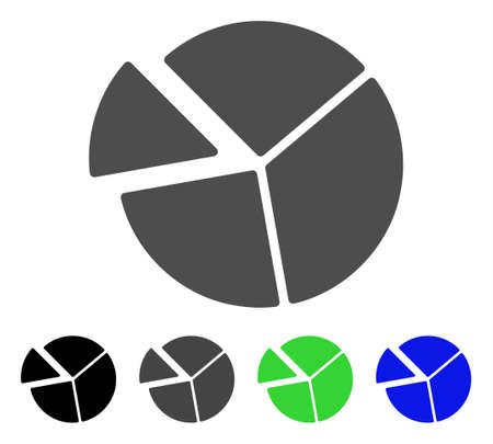 Pie Chart flat vector pictograph. Colored pie chart, gray, black, blue, green pictogram versions. Flat icon style for web design.