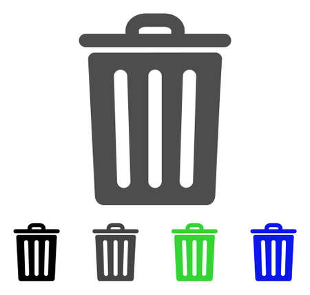 Dustbin flat vector pictograph. Colored dustbin, gray, black, blue, green pictogram variants. Flat icon style for web design. Illustration