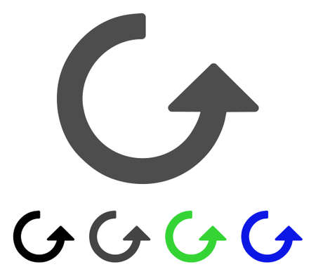 Rotate flat vector pictograph. Colored rotate, gray, black, blue, green icon versions. Flat icon style for web design.