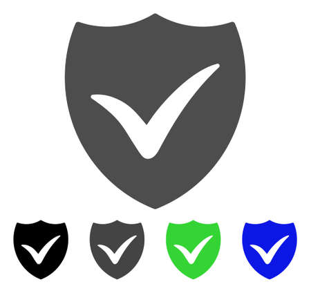 Shield Valid flat vector icon. Colored shield valid, gray, black, blue, green icon variants. Flat icon style for application design.