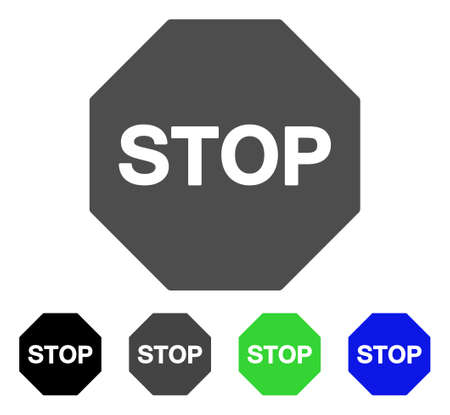 beware: Stop Sign flat vector illustration. Colored stop sign, gray, black, blue, green icon variants. Flat icon style for web design.