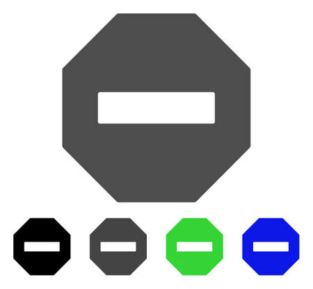 Forbidden Octagon flat vector pictograph. Colored forbidden octagon, gray, black, blue, green icon variants. Flat icon style for web design. Illustration