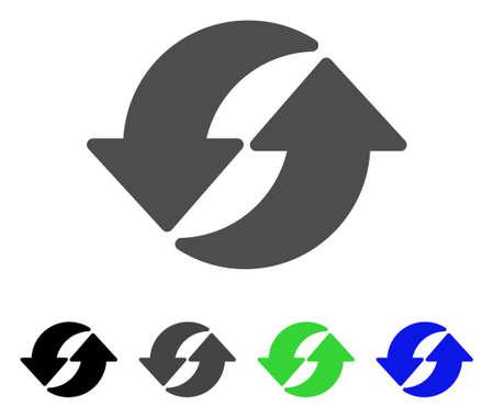 플랫 벡터 아이콘을 새로 고칩니다. 색상 새로 고침, 회색, 검정, 파랑, 녹색 아이콘 변형. 웹 디자인을위한 평면 아이콘 스타일.