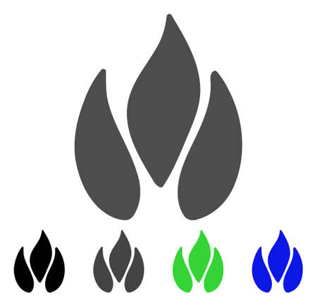 Fire flat vector illustration. Colored fire, gray, black, blue, green pictogram variants. Flat icon style for web design.