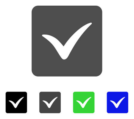 checklist: Approve Box flat vector icon. Colored approve box, gray, black, blue, green pictogram versions. Flat icon style for application design.