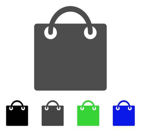 gift basket: Shopping Bag flat vector pictogram. Colored shopping bag, gray, black, blue, green pictogram versions. Flat icon style for web design. Illustration