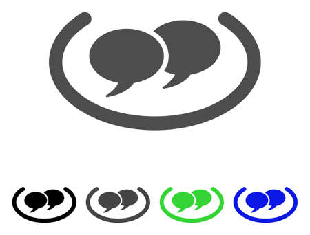Social Networks flat vector pictogram. Colored social networks, gray, black, blue, green icon versions. Flat icon style for application design.