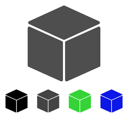 sugar cube: Cube flat vector pictogram. Colored cube, gray, black, blue, green pictogram versions. Flat icon style for application design.