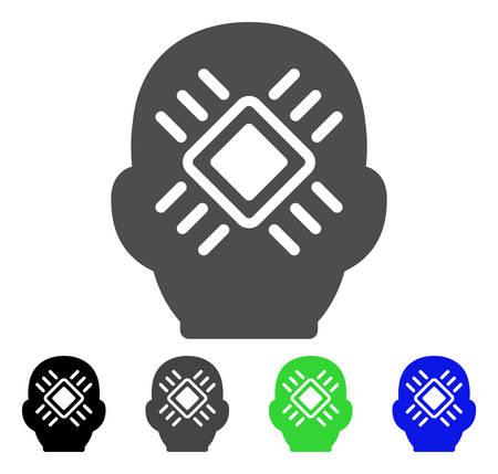 bionic: Cyborg Head flat vector pictogram. Colored cyborg head, gray, black, blue, green icon versions. Flat icon style for web design. Illustration