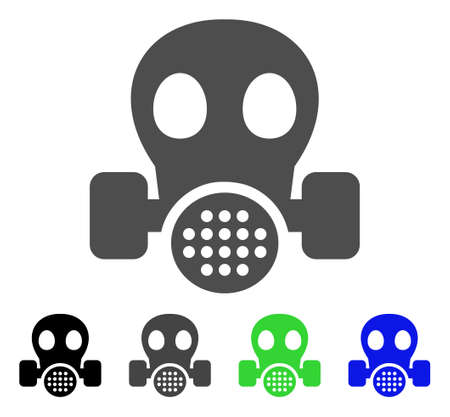 biohazard: Gas Mask flat vector icon. Colored gas mask, gray, black, blue, green icon variants. Flat icon style for application design.
