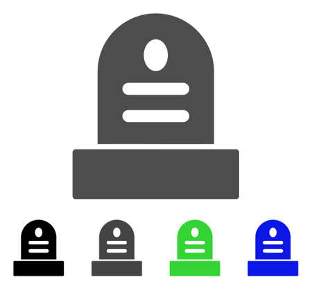 무덤 돌 평면 벡터 픽토그램입니다. 색깔 무덤 돌, 회색, 검정, 파랑, 녹색 그림 변형. 웹 디자인을위한 평면 아이콘 스타일.