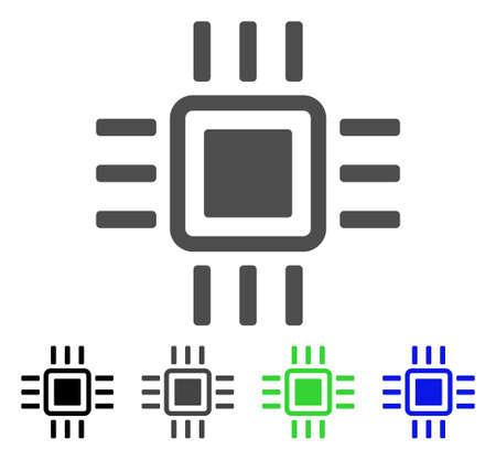 Processor flat vector illustration. Colored processor, gray, black, blue, green pictogram variants. Flat icon style for application design. Illusztráció