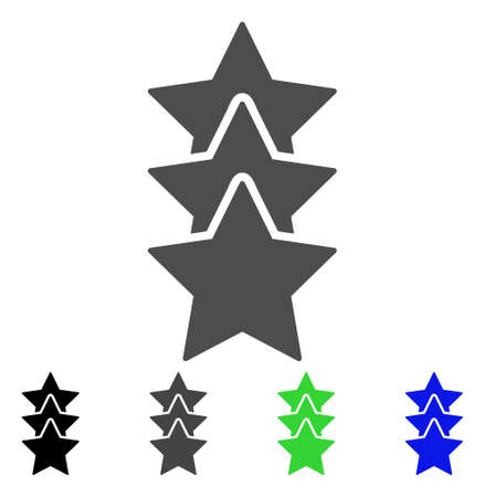 Rating Stars flat vector illustration. Colored rating stars, gray, black, blue, green pictogram variants. Flat icon style for graphic design.