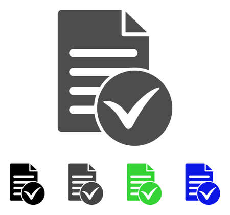 checklist: Test Page flat vector icon. Colored test page, gray, black, blue, green pictogram versions. Flat icon style for web design. Illustration