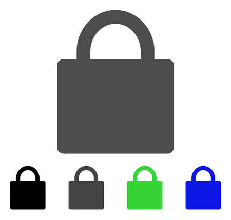 Lock flat vector icon. Colored lock, gray, black, blue, green icon variants. Flat icon style for web design.