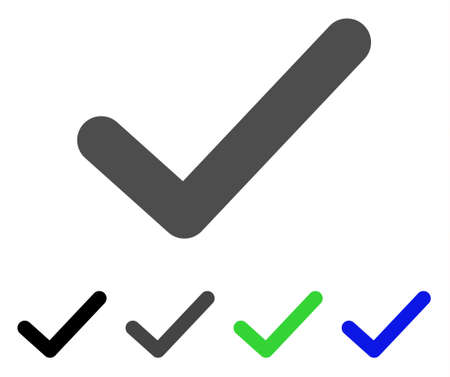 validation: Ok Tick flat vector pictograph. Colored ok tick, gray, black, blue, green icon versions. Flat icon style for web design.