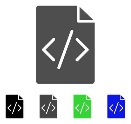 Programming Script Page flat vector pictogram. Colored programming script page, gray, black, blue, green pictogram versions. Flat icon style for web design.