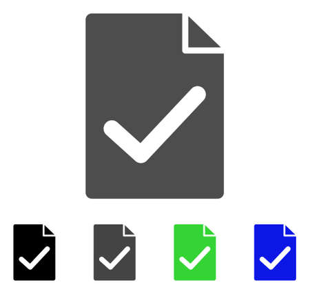 Valid Agreement Page flat vector icon. Colored valid agreement page, gray, black, blue, green pictogram variants. Flat icon style for web design. Ilustração