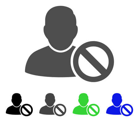 Forbidden User flat vector pictograph. Colored forbidden user, gray, black, blue, green icon versions. Flat icon style for graphic design.