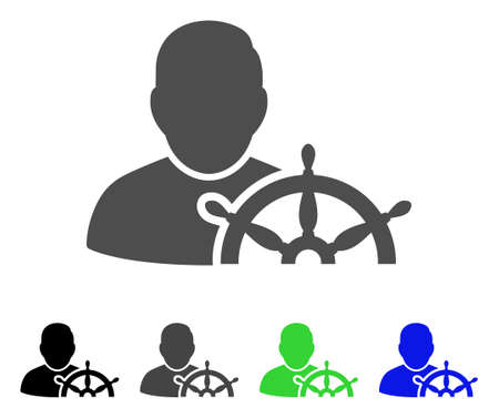 Navigation Captain flat vector pictogram. Colored navigation captain, gray, black, blue, green icon variants. Flat icon style for web design. Çizim