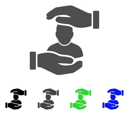 User Care Hands flat vector pictogram. Colored user care hands, gray, black, blue, green icon versions. Flat icon style for graphic design.