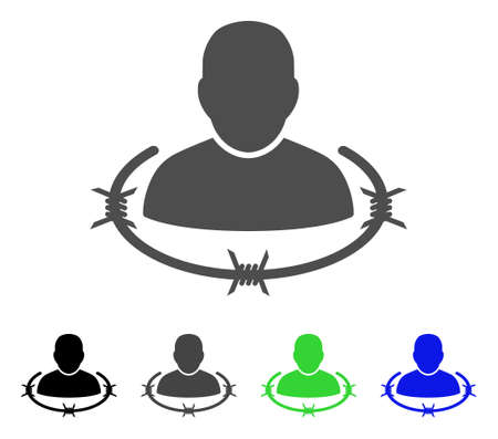 Captured Man flat vector pictograph. Colored captured man, gray, black, blue, green pictogram variants. Flat icon style for web design. Illustration