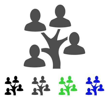 系譜ツリー フラット ベクトル アイコン。色の系譜ツリー、灰色、黒、青、緑のアイコンのバージョン。グラフィック デザインのフラット アイコン