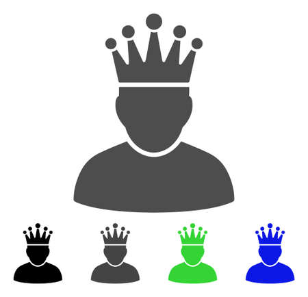 czar: King flat vector icon. Colored king, gray, black, blue, green pictogram variants. Flat icon style for application design.