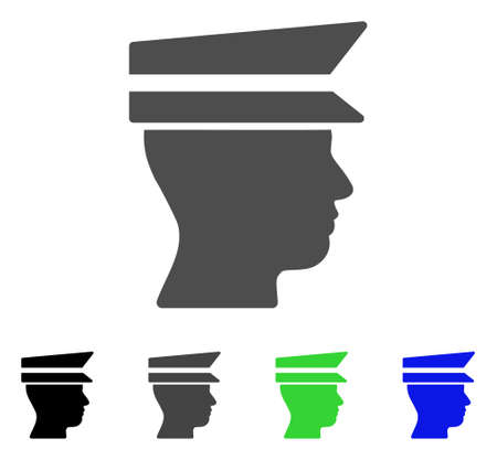 Officer Head flat vector illustration. Colored officer head, gray, black, blue, green pictogram versions. Flat icon style for application design.